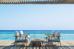 Fauteuils et table blancs près d'une piscine illustration de vecteur
