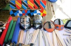 Faux boucliers, casques et armes de cerf-volant Photographie stock