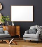 Faux cadre haut d'affiche à l'arrière-plan intérieur à la maison, style scandinave