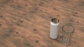 Faux de la canette de bière et d'un verre vide illustration de vecteur