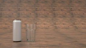 Faux de la canette de bière et d'un verre vide illustration stock
