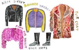 Faux fur coat,   jacket, biker boots, bomber ,  . Hand drawn watercolor illustration. Stock Photos