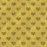 Faux Gold Foil Metallic Hearts Background Stock Photo
