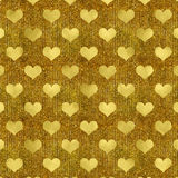 Faux Gold Foil Metallic Hearts Background Royalty Free Stock Photos