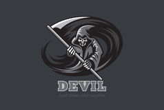 Faux Lo de Ghost d'horreur de démon de diable de la mort de Halloween illustration libre de droits