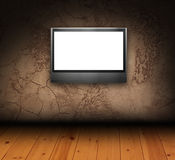 Faux painted stucco wall with LCD tv Royalty Free Stock Photos