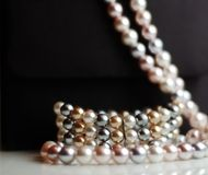 Faux Pearls. Fake pearl necklace and bracelet with a black evening bag Stock Image