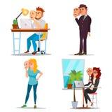 Faux Person Set Vector Mauvais, fatigué homme, femme Trompez le concept Gens d'affaires d'usage de masque de sourire Bande dessin illustration de vecteur