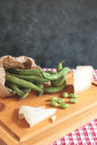 Fava beans and cheese Royalty Free Stock Photo