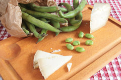 Fava beans and cheese Stock Photo