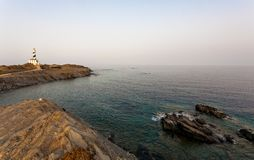 Favaritxvuurtoren bij zonsondergang - Minorca Baleari Stock Foto's