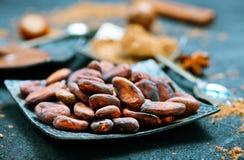Fave di cacao fotografia stock libera da diritti