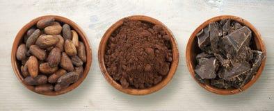 Fave di cacao e cioccolato Stock Photos