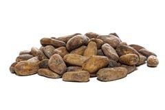 Fave di cacao isolate sopra bianco Fotografia Stock