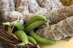 Fave e salame, broad beans with salami Stock Image