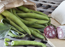 Fave e salame, broad beans with salami and sheep cheese Stock Photo