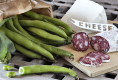 Fave e salame, broad beans with salami and sheep cheese Royalty Free Stock Photography