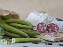 Fave e salame, broad beans with salami and sheep cheese Royalty Free Stock Images
