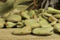 Fave organiche accanto alle foglie della baia Fotografie Stock