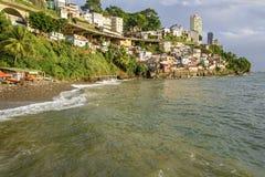 Favela do Contorno. Contour slum in Salvador below the Contour Avenue, next to the Museum of Modern Art Royalty Free Stock Photography
