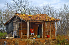 Favela house in Wattle-and-Daub. A classic and well shown exemplary of the construction technology of the wattle and daub  (or wattle-and-daub), now considered Stock Image