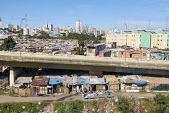 Favela in Sao Paulo. Slum and building popular in Sao Paulo. Illegal and fragile constructions near Royalty Free Stock Photography