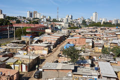 Favela in Sao Paulo. Slum and building popular in Sao Paulo. Illegal and fragile constructions near Stock Photos