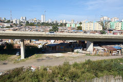 Favela in Sao Paulo. Slum and building popular in Sao Paulo. Illegal and fragile constructions near Stock Photo