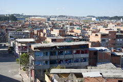 Favela in Sao Paulo. Slum in Sao Paulo. Illegal and fragile constructions, poverty in city Stock Photography
