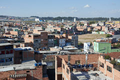 Favela in Sao Paulo. Slum in Sao Paulo. Illegal and fragile constructions, poverty in city Royalty Free Stock Photo