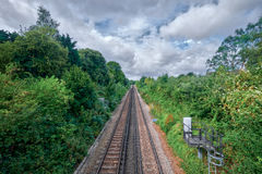 Faversham train tracks. The train tracks that lead to Faversham UK on a cloudy day Stock Photos