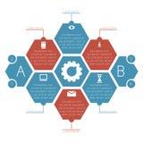 Favi di Infographics (esagonali) con le note a piè di pagina illustrazione di stock