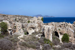 Favignana - old tuff quarries on the mediterranean coast, Sicily Stock Photography