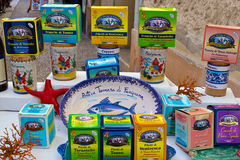 Favignana, typical tuna products for sale on market stall. Aegadian Islands Royalty Free Stock Photo