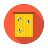 Favo de mel com ícone do círculo das abelhas Foto de Stock Royalty Free