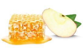 Favo de mel e maçã Imagem de Stock Royalty Free