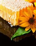 Favo de mel no fundo reflexivo preto Foto de Stock