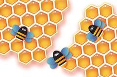 Favo e Honey Bee dell'oro di origami nello stile del taglio della carta Priorità bassa bianca Royalty Illustrazione gratis