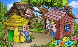 Favola scena del fumetto di tre la piccola maiali royalty illustrazione gratis