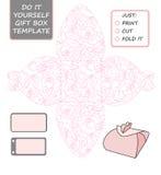 Favor, caja de regalo cortada con tintas Plantilla de la caja con el modelo color de rosa libre illustration