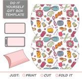 Favor, gift box die cut. Box template. Stock Photo