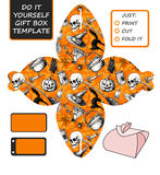 Favor, gift box die cut. Box template with Halloween pattern Royalty Free Stock Images