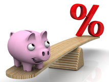 Favorable interest rates. Financial concept. Satisfied pig piggy bank weighed on the scales with a red percent symbol. Financial concept favorable interest rates Stock Photos
