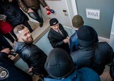 Favorable partido político ruso que cerca con piquete Imagen de archivo