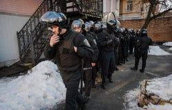 Favorable partido político ruso que cerca con piquete Fotografía de archivo