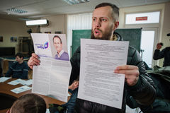 Favorable partido político ruso que cerca con piquete Fotos de archivo