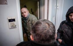 Favorable partido político ruso que cerca con piquete Fotografía de archivo libre de regalías