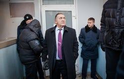 Favorable partido político ruso que cerca con piquete Foto de archivo