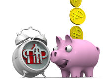 Favorable savings in the pension fund of the Russian Federation. Alarm clock, the symbol of the pension fund of the Russian Federation and piggy bank with a coin Stock Photos