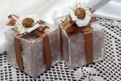 Favores dos casamentos com os cosméticos feitos home Fotografia de Stock